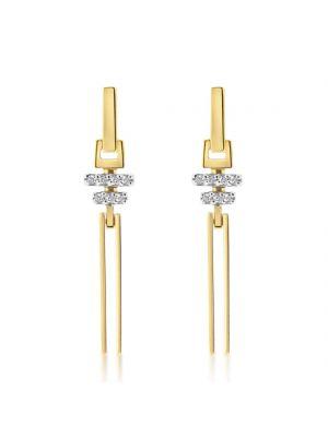 9ct Yellow & White Gold Cubic Zirconia Drop Earrings