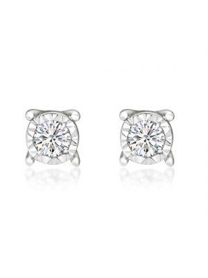 18ct White Gold Round Brilliant Diamond Stud Earrings