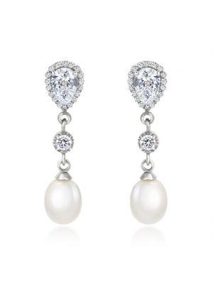 9ct White Gold Pearl Drop Earrings