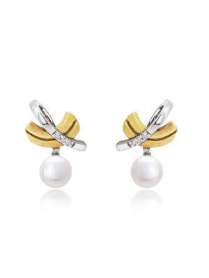 9ct Cultured Peal & Diamond Earrings