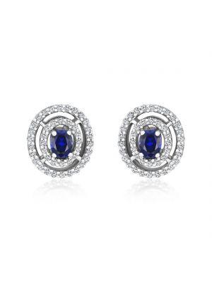 18ct White Gold Diamond & Sapphire Oval Stud Earrings