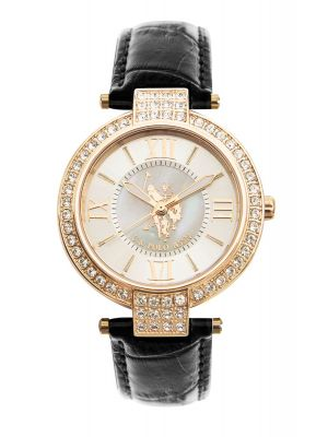 US  Polo ass gold plated stone set watch with black leather strap