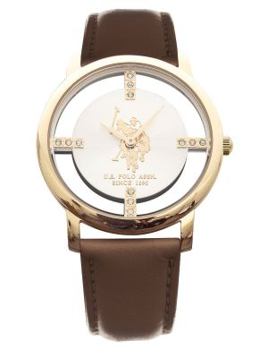 US polo ass ladies yellow gold plated watch with brown leather strap