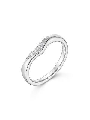 9ct White Gold V Diamond Ring