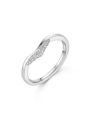 18ct White Gold Diamond Small V Ring