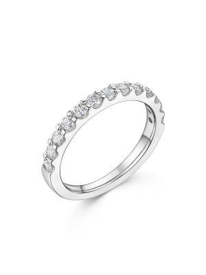 18ct White Gold Half Circle Diamond Ring