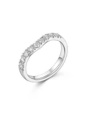 18ct White Gold Curve Diamond Band