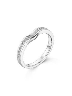 18ct White Gold Small V Channel Set Band