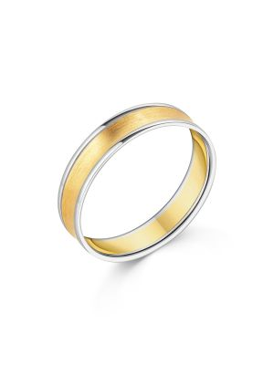 18ct Two Tone Gent's Wedding Band