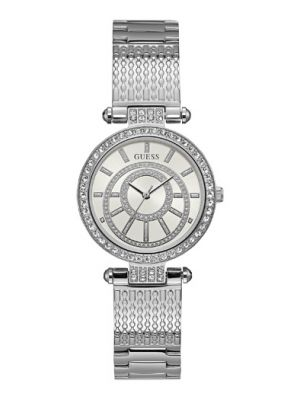 Ladies Guess stainless steel stone set dial watch