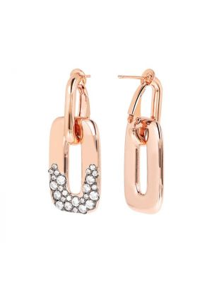 Hoop Earrings with Pendant and CZ Pavé Detail, Bronzallure