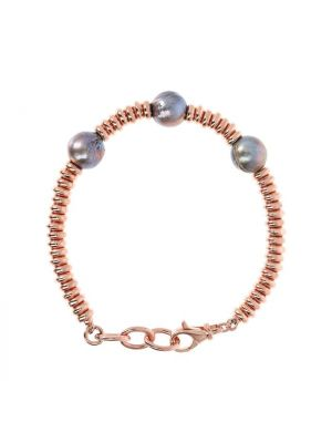 Bracelet with Grey Pearls and Golden Rosé Washers