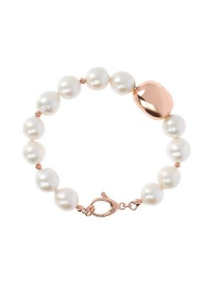Pearls and Golden Rose Nugget Bracelet, Bronzallure
