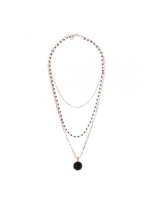 Three Strands Black Spinel Necklace with Rosary Chain and Gemstone Pendant by Bronzallure