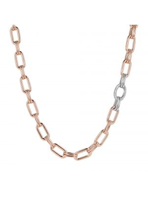 Oval Rolò Chain and Cubic Zirconia Necklace by Bronzallure