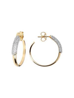 Hoop Earrings Pavé Set with White CZ by Bronzallure