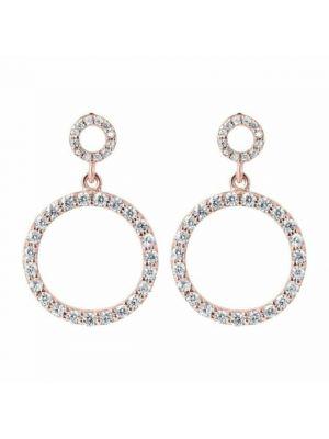 Golden Rose  CZ Set Circle Drop Earrings by Bronzallure