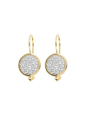 Bronzallure Golden Shiny Round CZ Gemstones Earrings