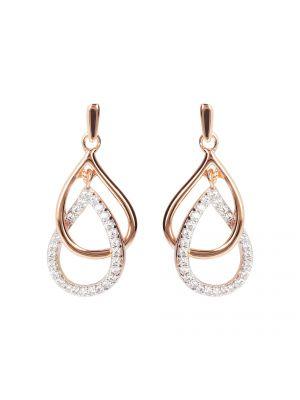 Golden Rose  CZ Set Interlinked Pear Drop Earrings by Bronzallure