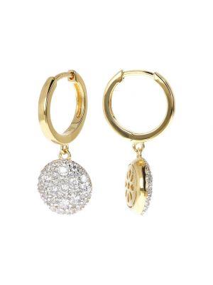 Bronzallure Golden Hoop Earrings with Dangle Round Pavé Pendant