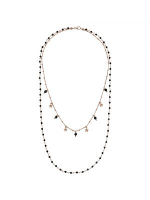 Rose Gold Microplated Two Strand Necklace with Onyx and Star Detail
