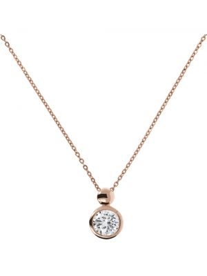 18 ct Rose Gold Microplated CZ Rubover Pendant