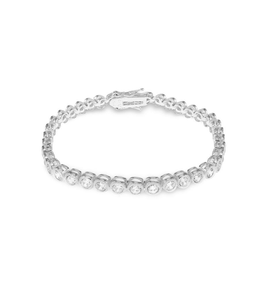 Silver Round White CZ Bracelet