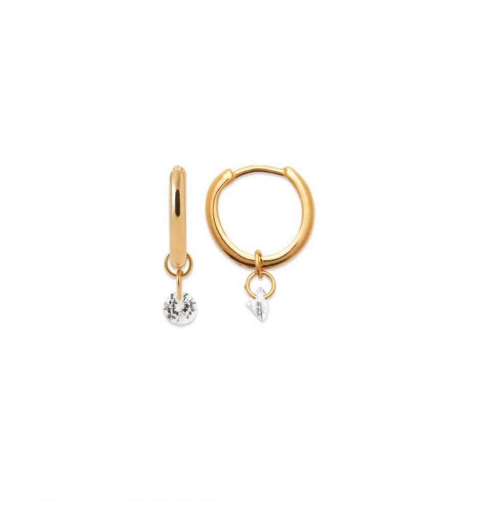 18kt Gold Microplated Small CZ Huggy Earrings with Hinge and Drop CZ