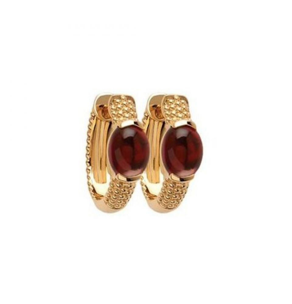 18ct Yellow Gold Microplated Stone Set Textured Hoops
