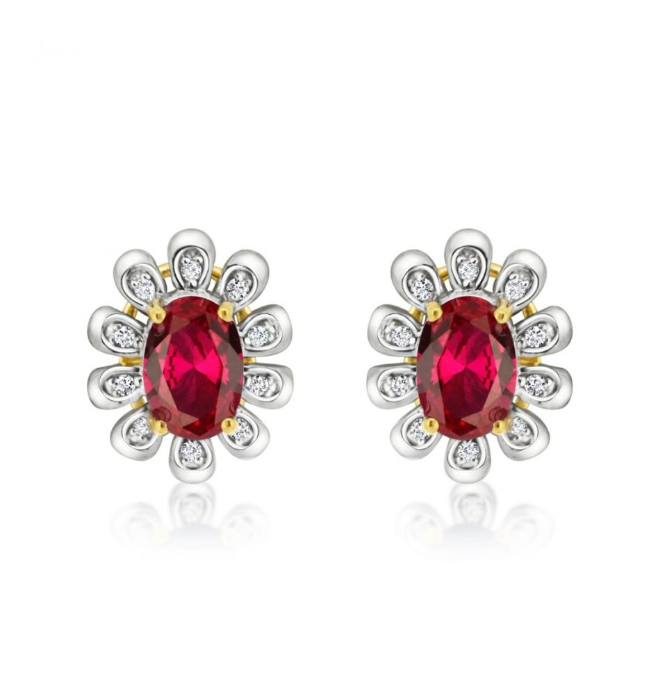 9ct Yellow & White Gold Diamond & Ruby Earrings