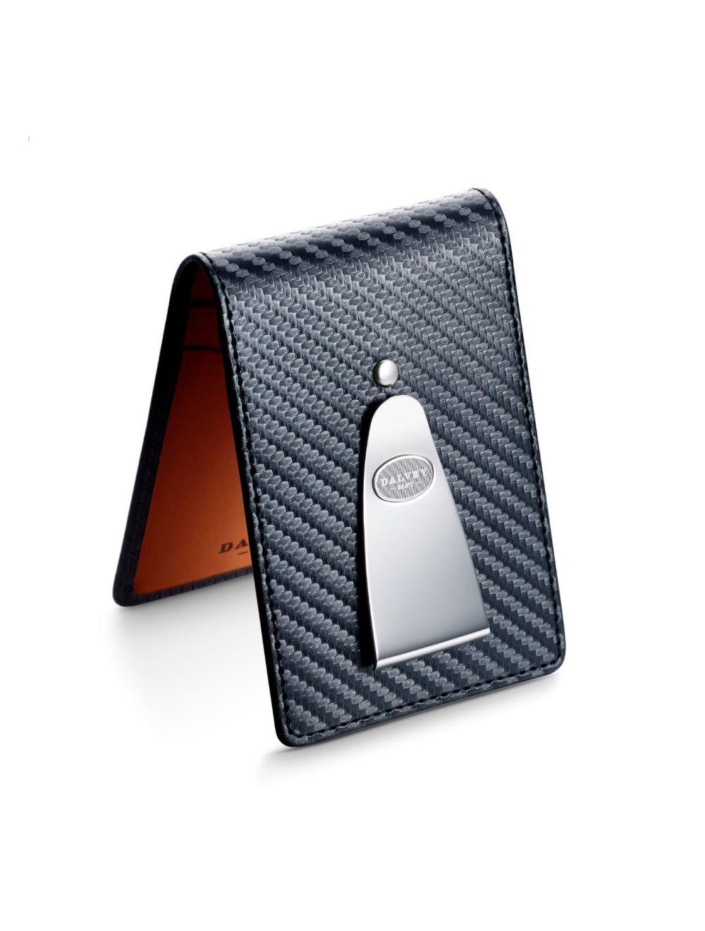 Dalvey gents wallet with vibrant orange & carbon fibre leather
