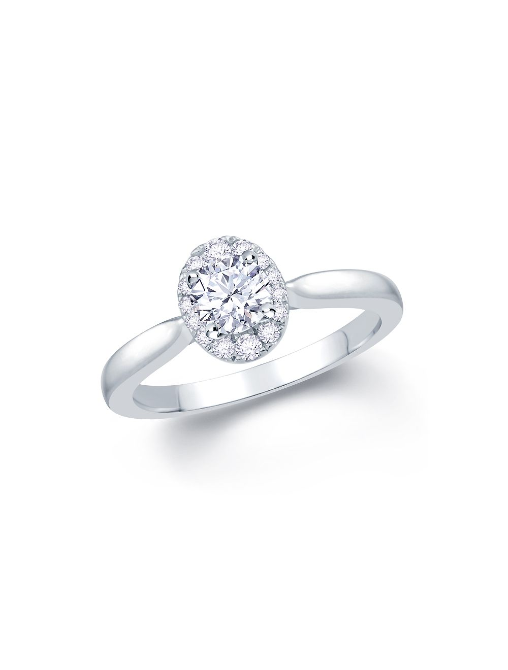 a6738ef0ce0dd 18ct white gold solitaire diamond with oval shape diamond halo engagement  ring