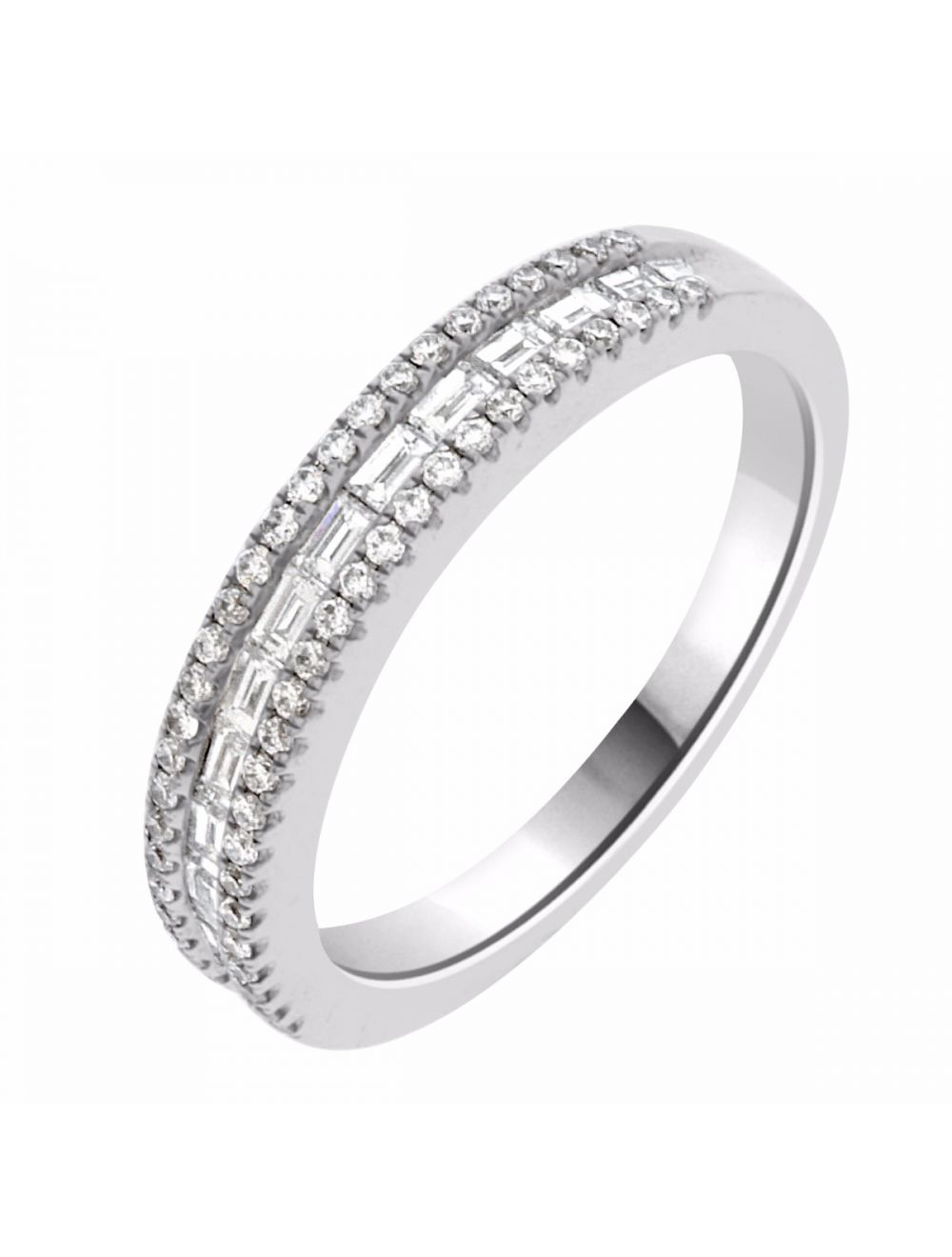 Baguette Wedding Band.18ct White Gold Baguette And Round Diamond Wedding Band