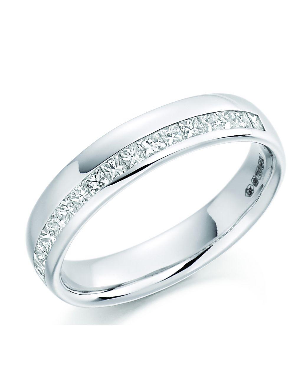 18ct White Gold Princess Cut Diamond Wedding Band