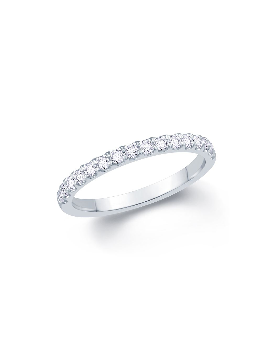 White Gold Wedding Band.18ct White Gold Round Brilliant Split Claw Diamond Ladies Wedding Band