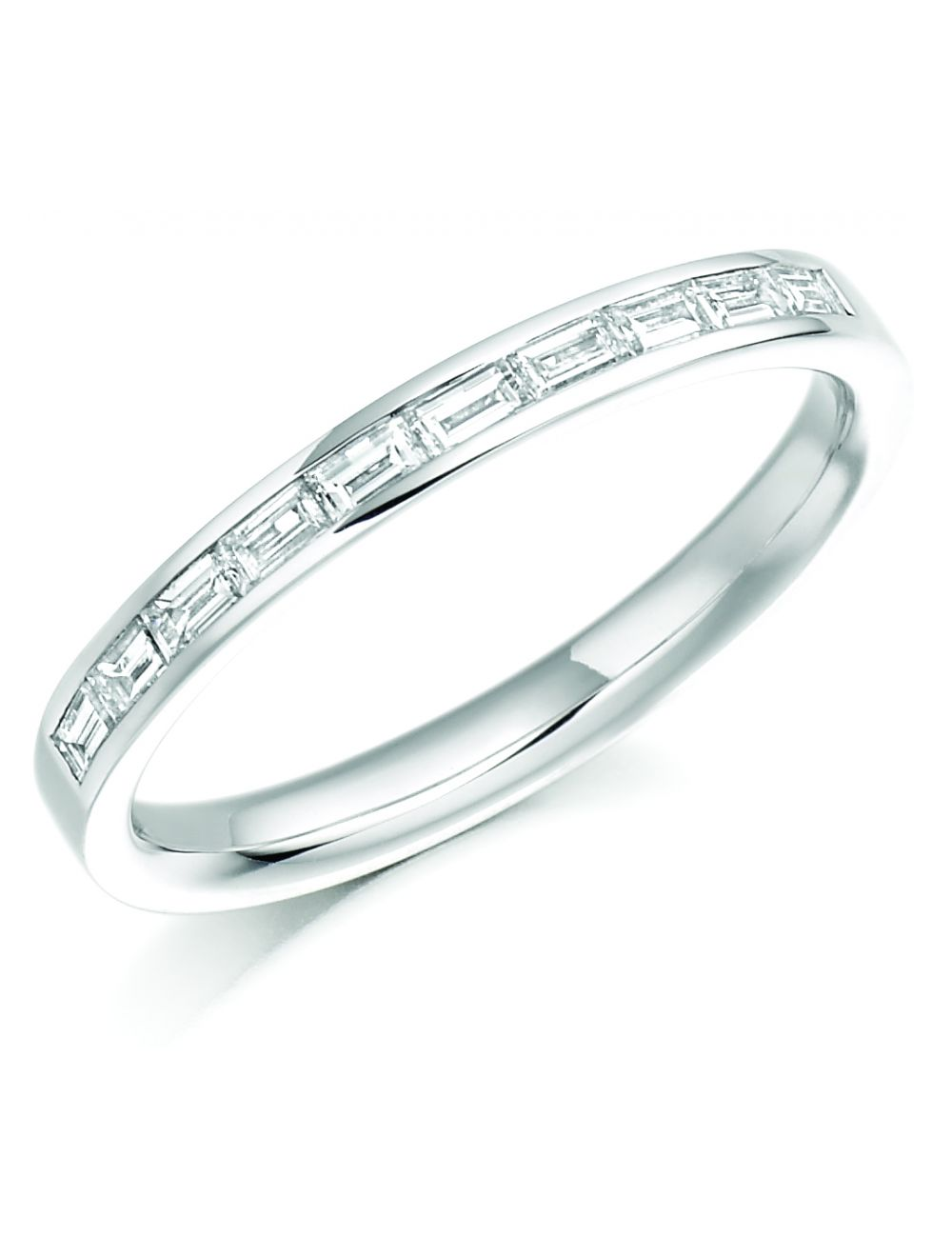 Baguette Wedding Band.18ct White Gold Diamond Baguette Wedding Band