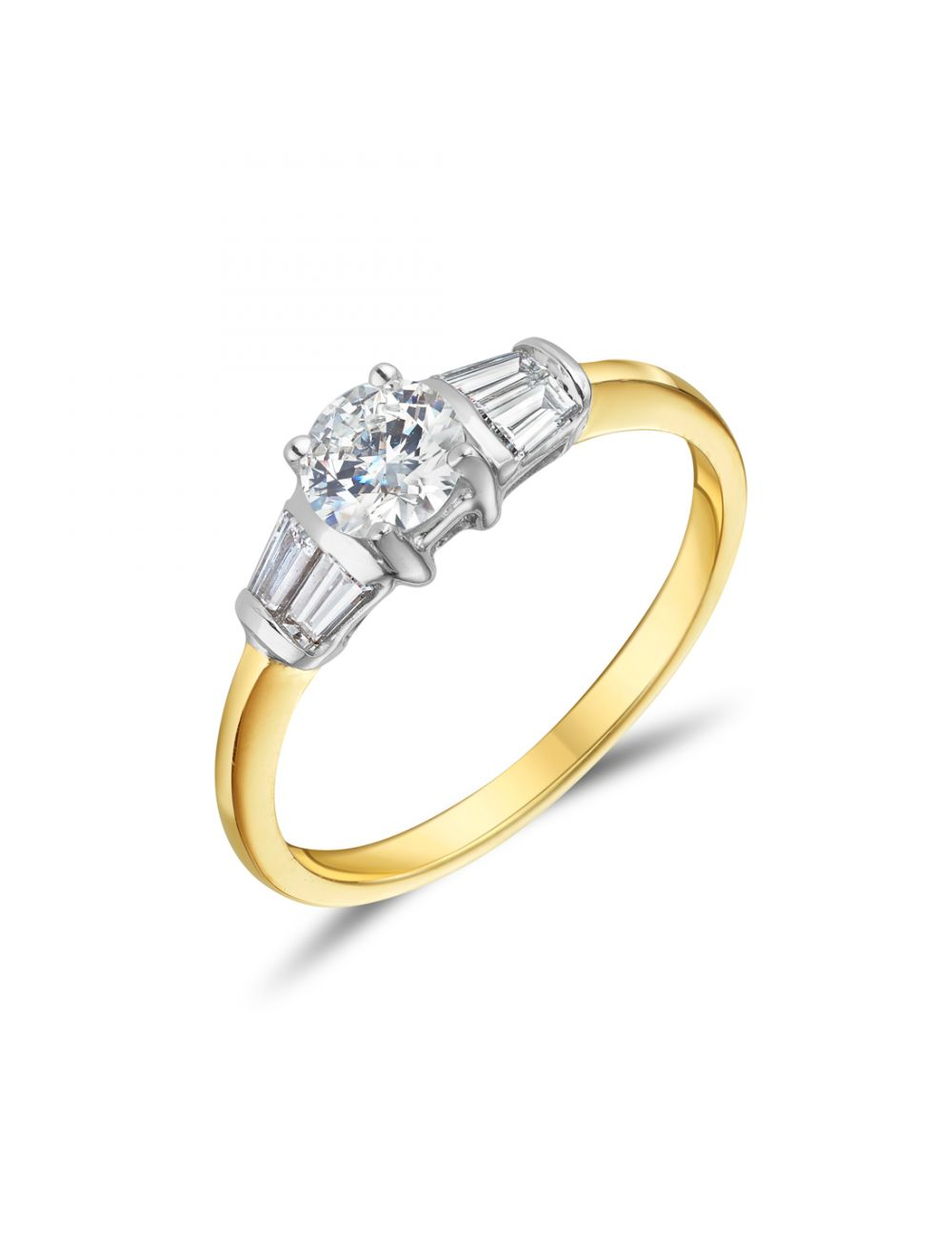 18ct Yellow Gold Ring With Round Brilliant And Baguette Diamond Ring Ryan Thomas Jewellers