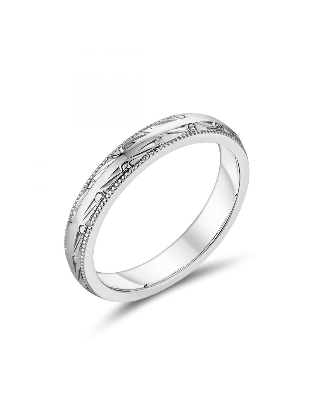 18ct White Gold Ladies Wedding Band With Bead Detail