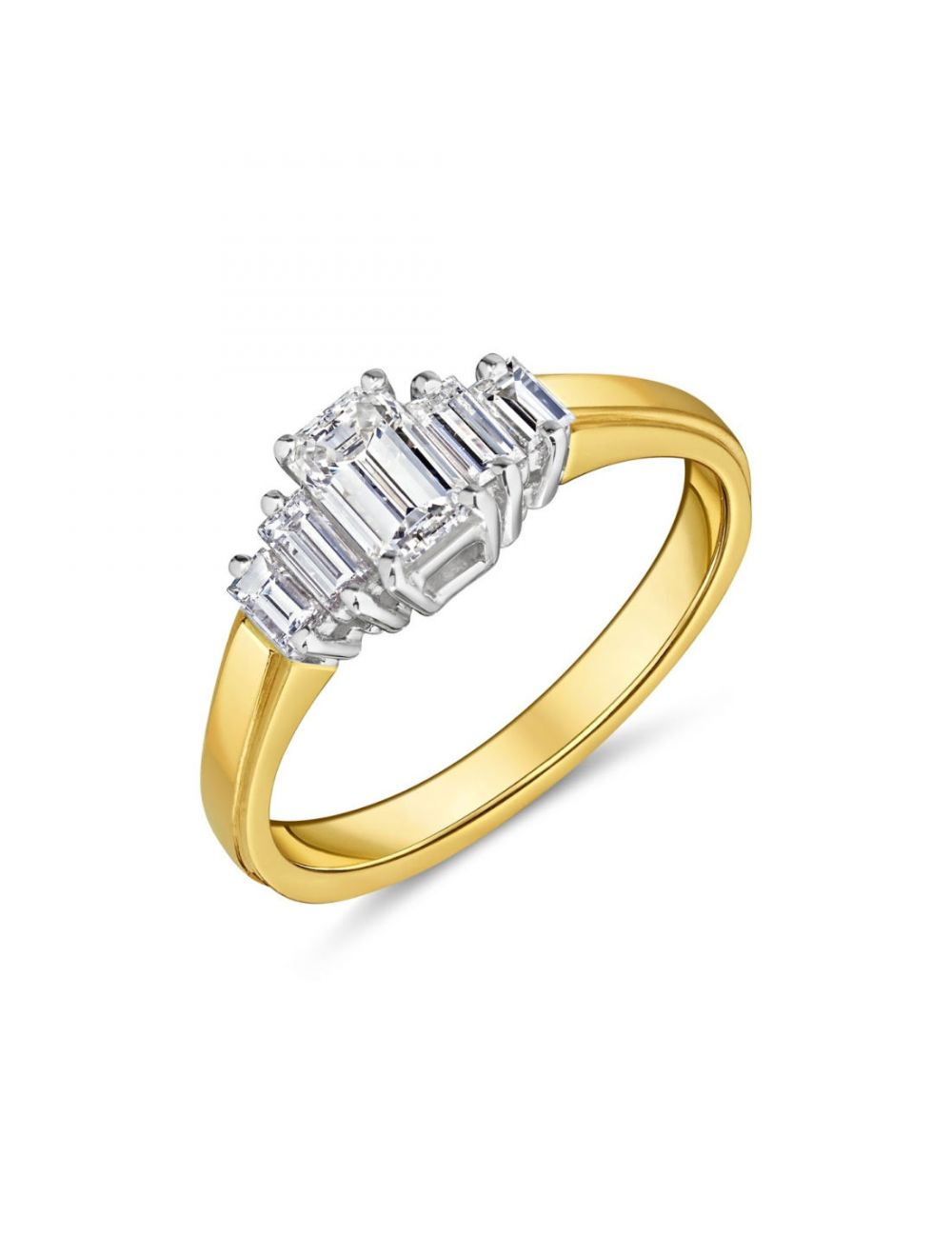 18ct Yellow Gold Emerald Cut Diamond Ring With Baguettes Each Side Ryan Thomas Jewellers