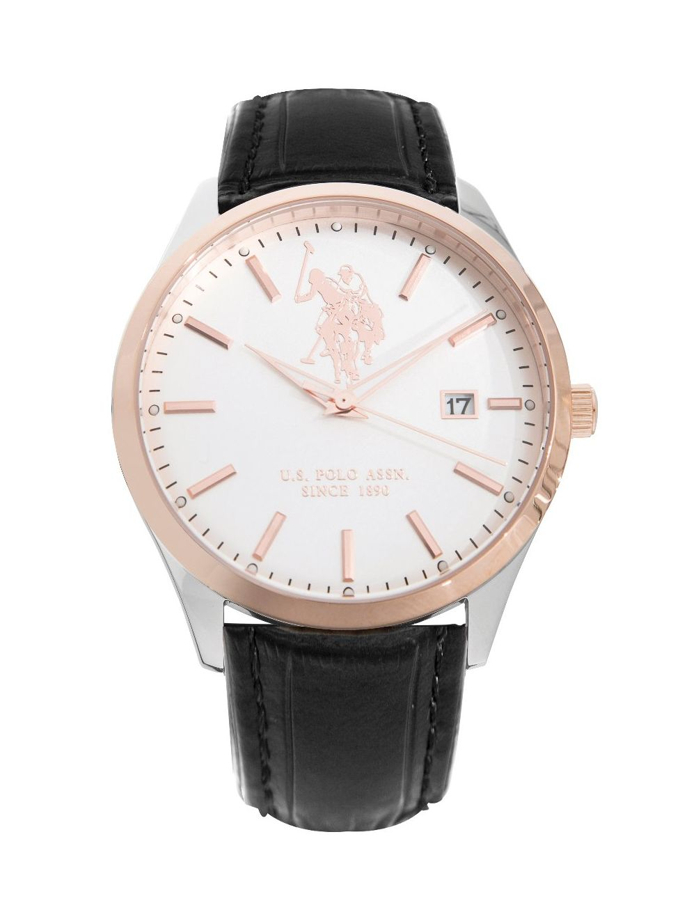 Us Polo Ass Black Leather Steel Rose Dress Watch