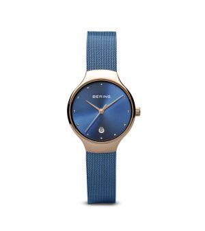 Bering Ladies rose gold & blue milanese strap watch