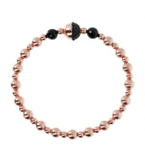 Bronzallure rose bead and black stone set magnetic catch bracelet