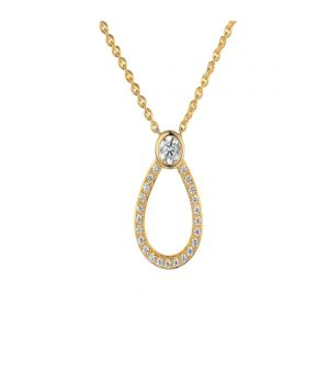 9ct yellow gold cubic zirconia teardrop pendant and chain