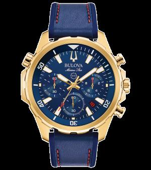 Gents Marine star Bulova leather  strap chronograph watch