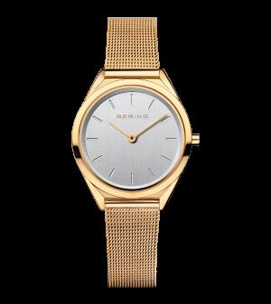 Bering Ladies yellow milanese strap watch
