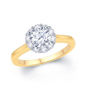 18ct yellow gold solitaire diamond with diamond halo ring