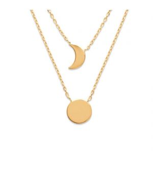 18ct yellow gold microset moon and sun layered pendant