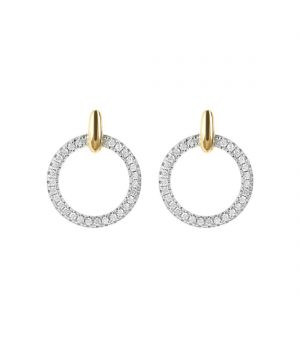 Bronzallure 18ct yellow gold microplated on bronze round cz circular drop earrings