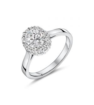 18ct white halo style oval cut Lab diamond ring