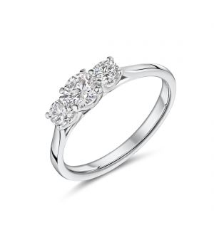 18ct white gold 3 stone Lab diamond ring